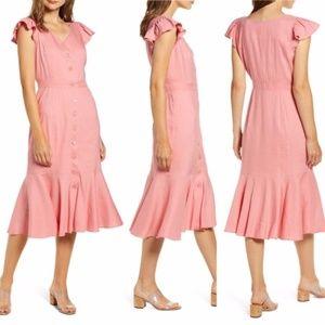 RACHEL PARCELL CORAL MAUVE Button Down Midi Dress